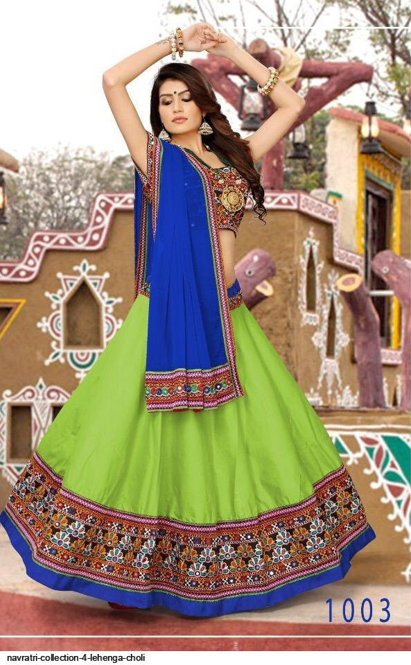 Navaratri Special Multi Color Top And Green Color Lehenga Choli
