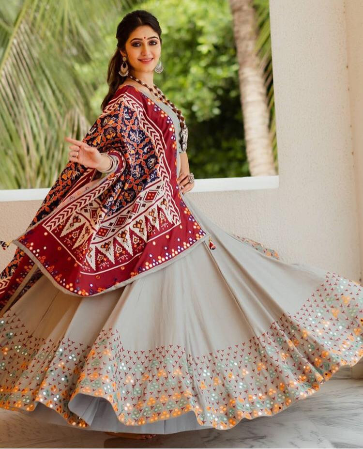 Navratri Special Lehenga Choli Printed In Heavy Soft And Silk Mirror Work Lehenga Choli