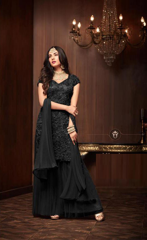 Latest New Black Color Party Wear Designer Sharara Suti