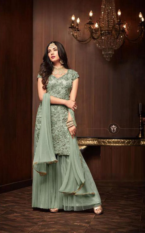 Stylish Teal Green Color Heavy Net With Sequence Work Sharara Suit