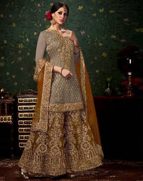 New Stylish Banarasi Silk  Sharara Suit