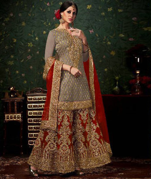 Banarasi Silk With Stone Work Red Sharara Suit Online