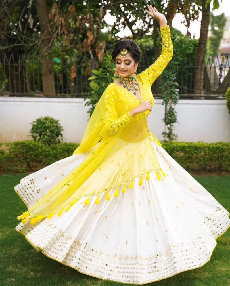 Blissful Yellow Color Party Wear Designer Lehenga Choli