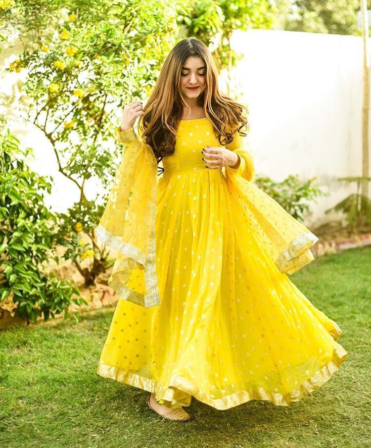 New Latest Yellow Color Long Gown With Dupatta