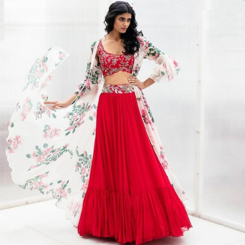 Red Georgette Party Wear Indo Western Lehenga With Digital Print Jacket