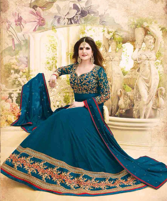 New Bollywood Teal Blue Colored Party Wear Anarkali Suit