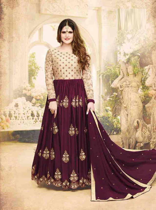 New Boyywood Maroon Colored Georgette With Embroidery Work Wedding Wear Anarkali Suit