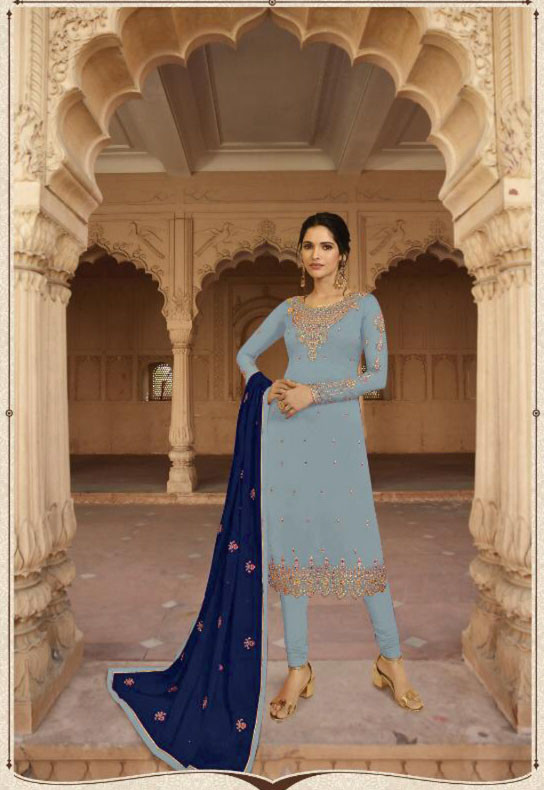 Sky Blue Colored Partywear Lehenga  Suit With Embroidery Work
