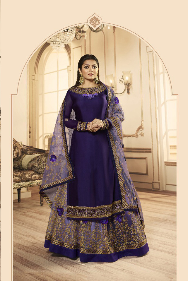 New Purple Color Georgette  Lehenga Top Design