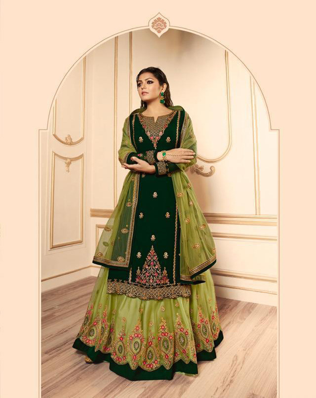 Green Colored Heavy Georgette Wedding Wear Lehenga With Top
