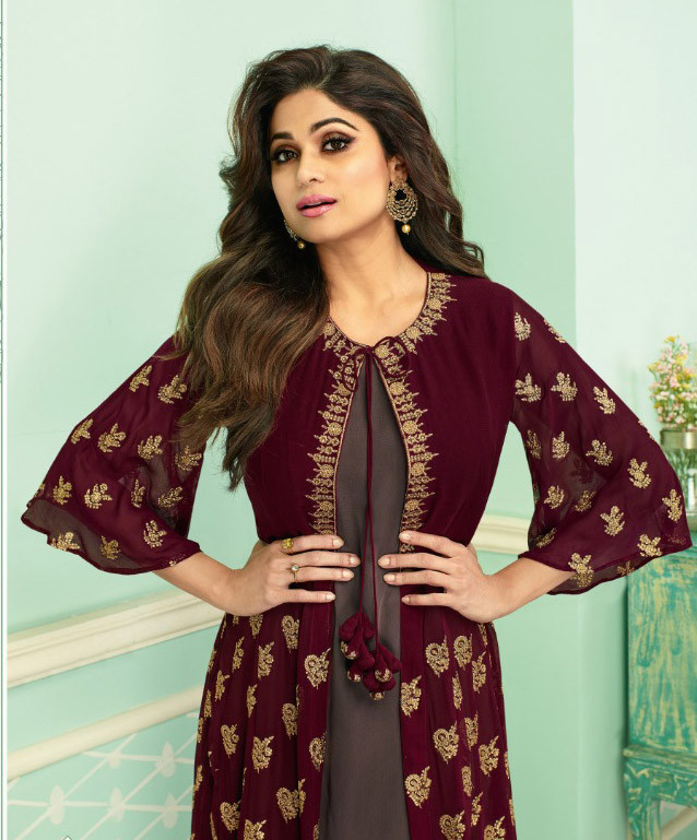 Maroon Color Fox Georgette Palazzo Suit