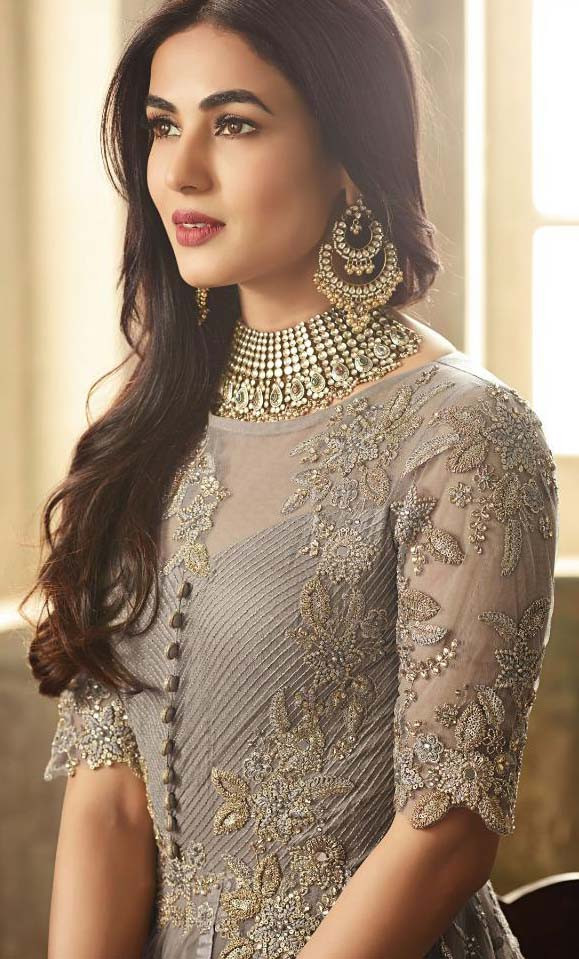 Bollywood Party Wear Grey Color Anarkali Suit For Women's