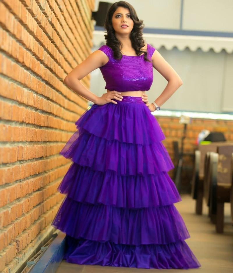 Purple Color Heavy Net Ruffle Style Lehenga