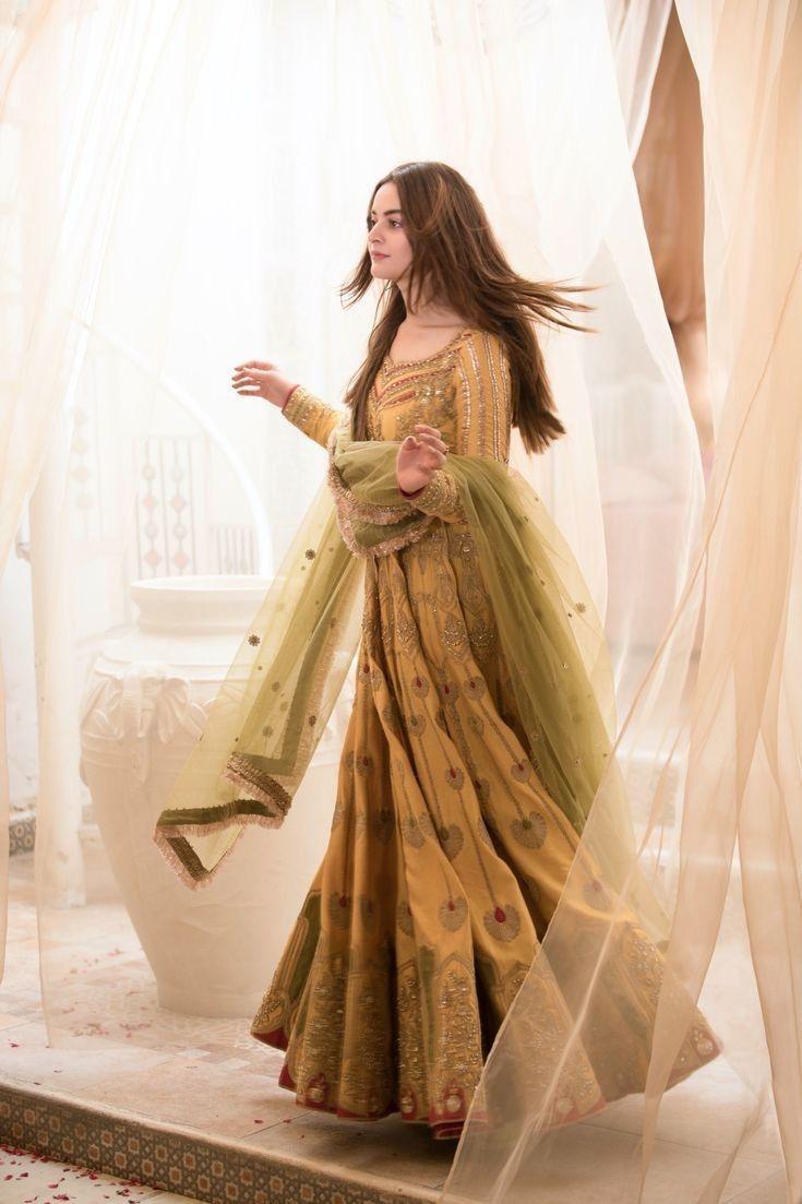 Yellow Colored Partywear Heavy Taffeta Silk Gown