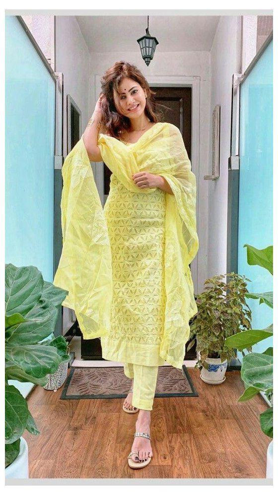 Casual Wear Light Yellow Color Cotton Palazzo Pent With Top Online