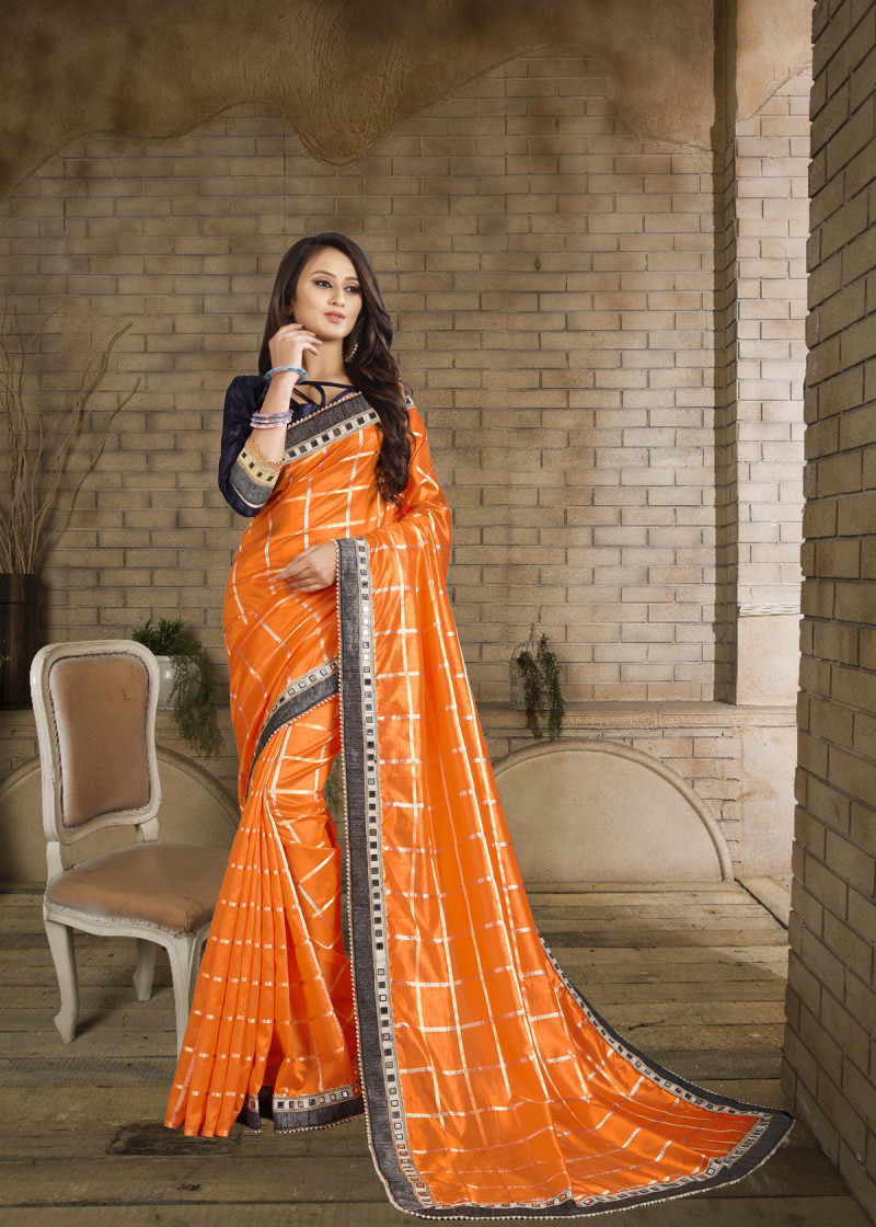 Orange Color Saree With Contrast Blouse Design