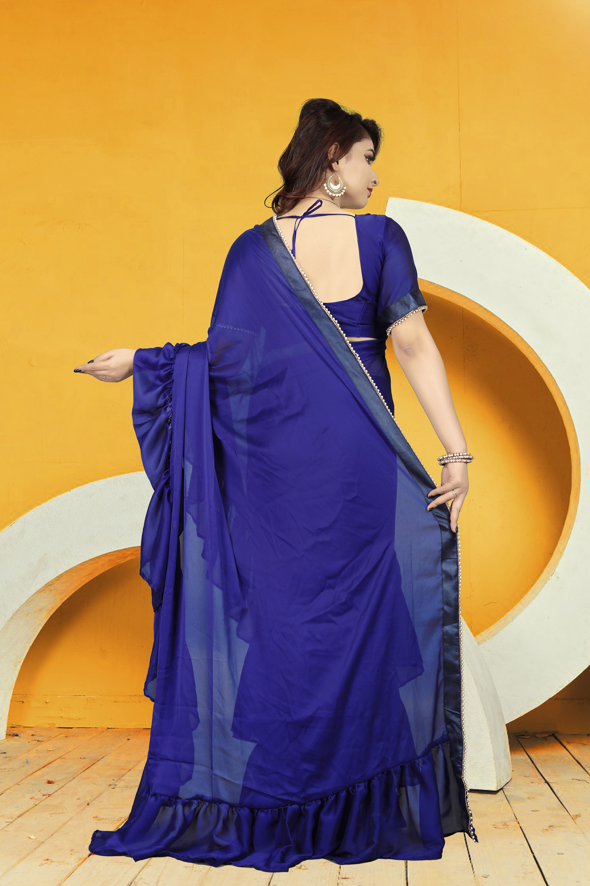 Party Wear Blue Color rangoli Silk Ruffle Saree