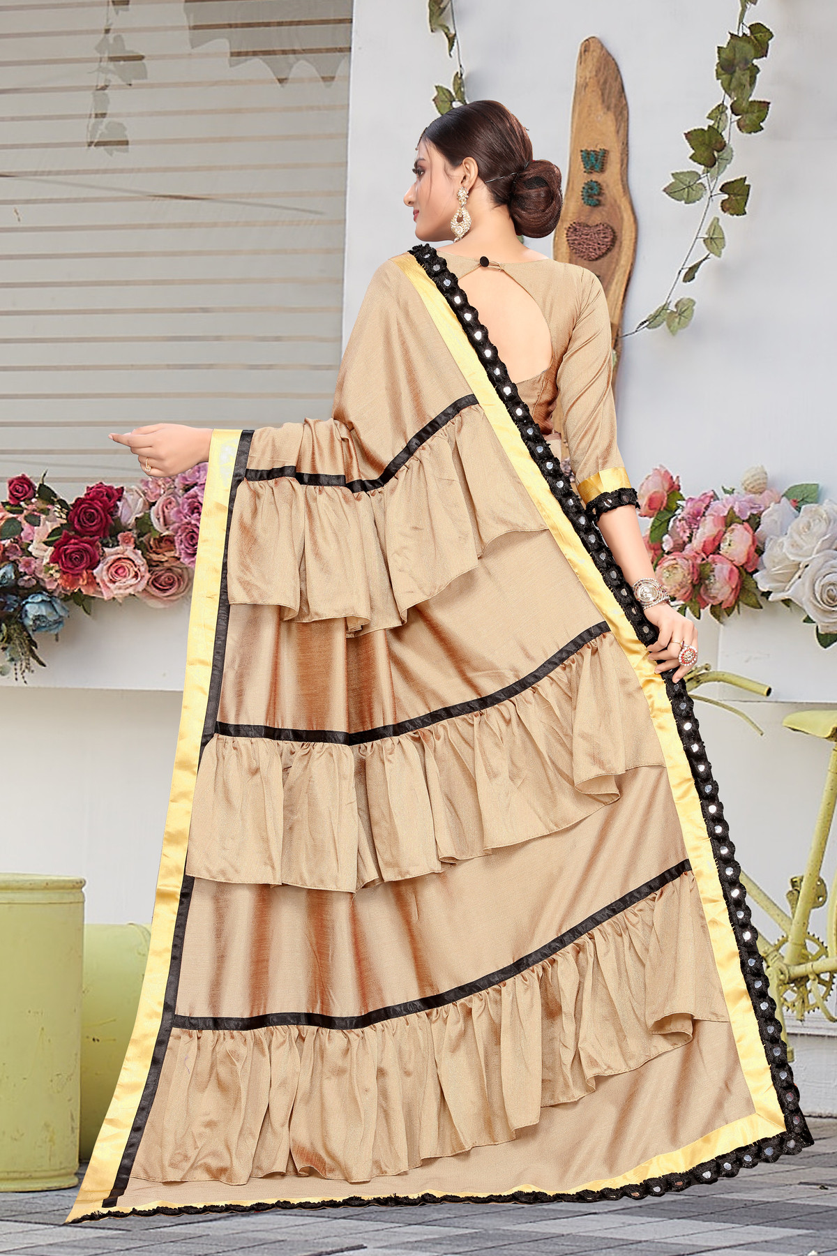 Cream Color Festival Wear Ruffle Saree For Women