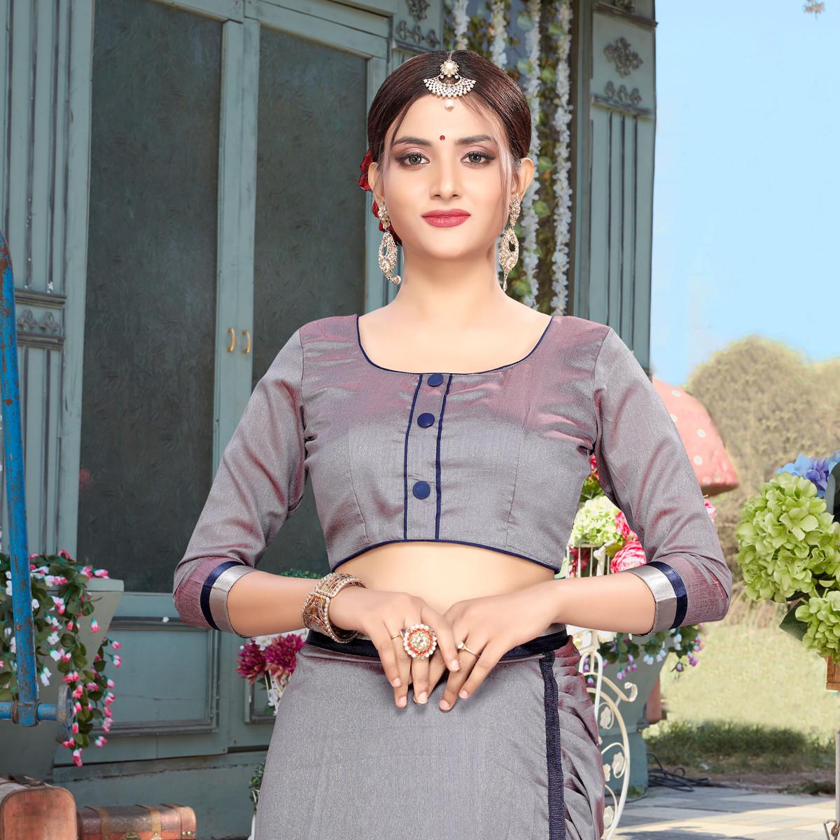 Grey Color Vichitra Silk Ruffle Saree For Woman