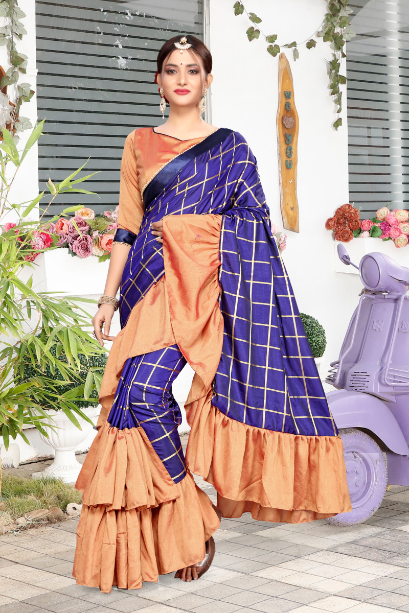 Buy Online Ruffle Saree With Blouse From Ethnic Wear For Woman