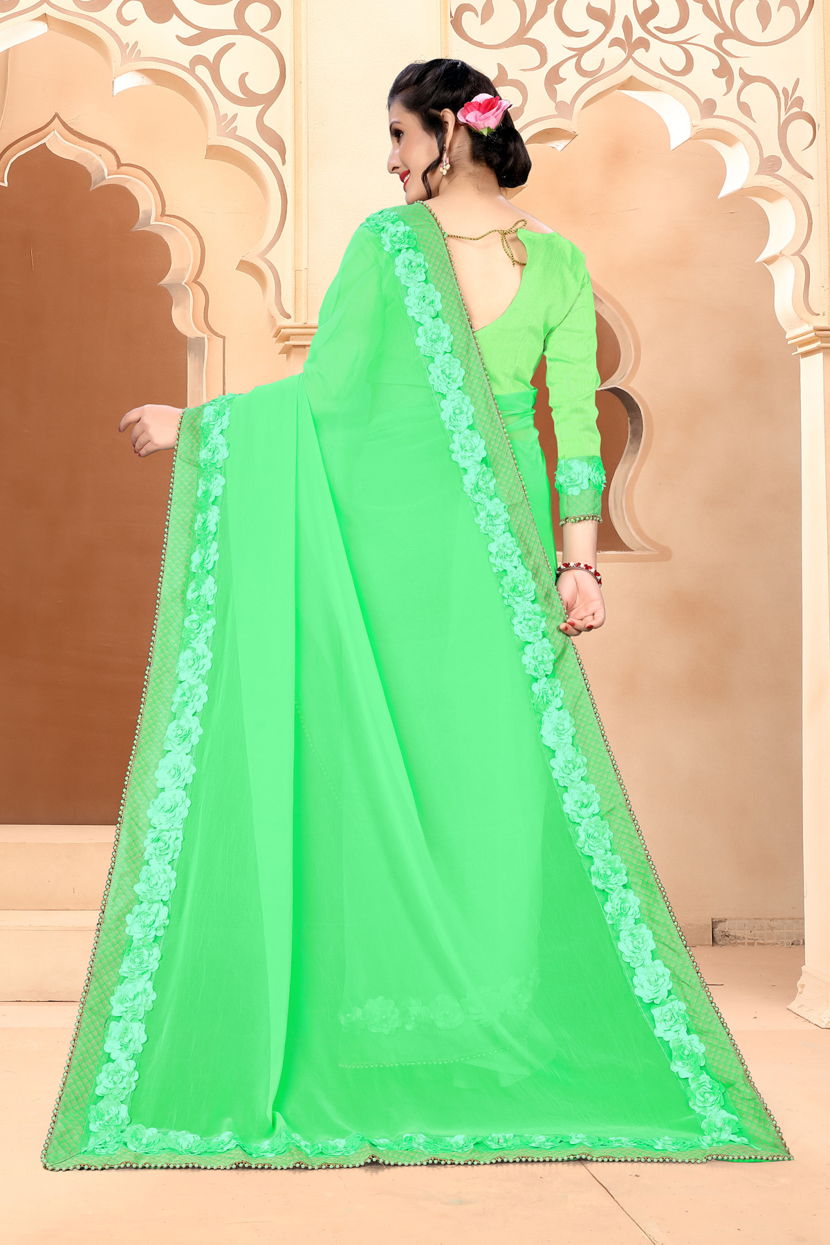 Beautiful Parrot Green Color Georgette With Ribbin Work