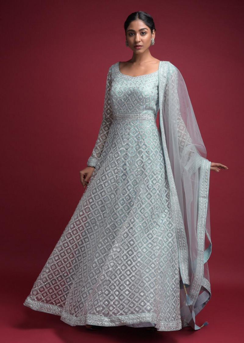 Stunning Grey Colored With Fully Net Embroidery Western Gown