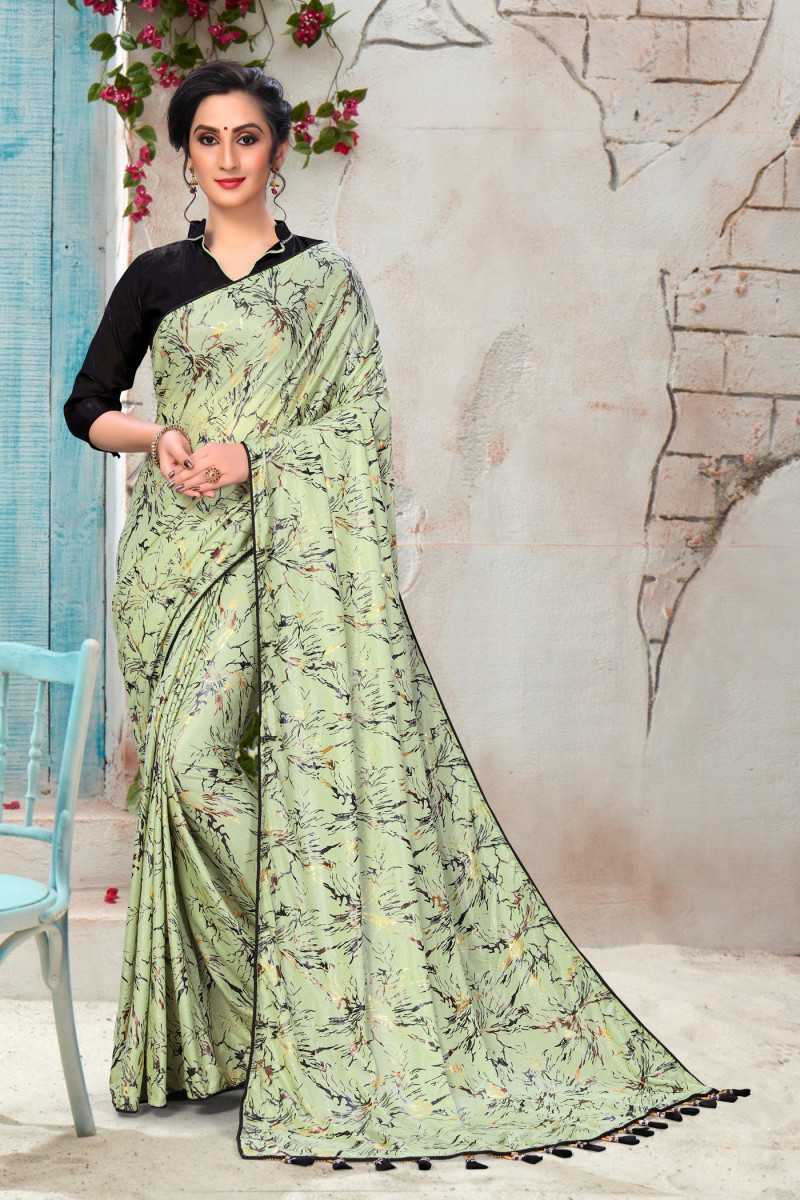 Light Green Colored Silk Saree With Contrast Blouse