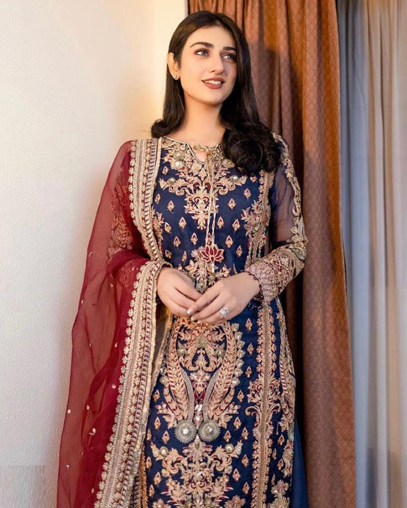 Latest Navy Blue Color Palazzo Suit