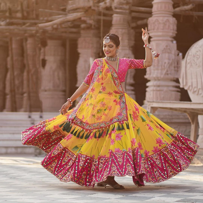 Yellow And Pink Navratri Special Chaniya Choli