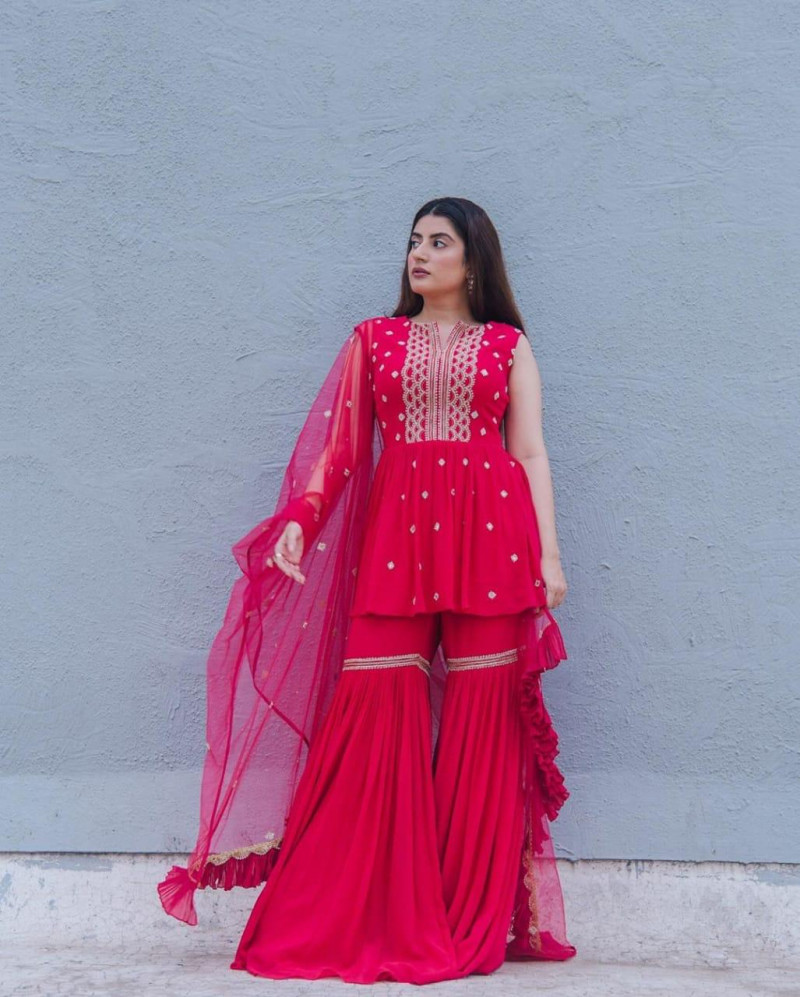 Pink Color Party Wear Sharara Suit