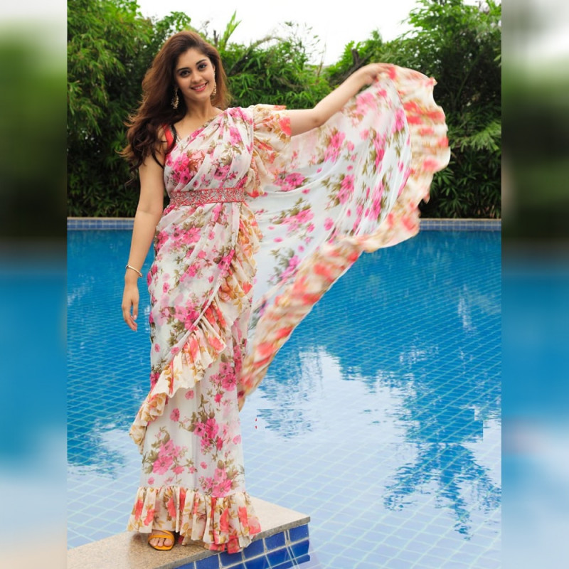 Off White Color Ruffle Style Saree