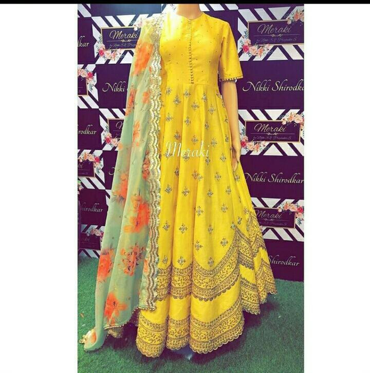 Yellow Color Long Gown