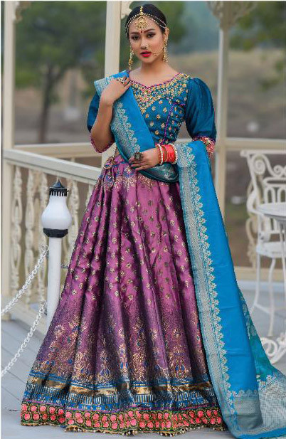 Violet Color Wedding Wear Lehenga Choli