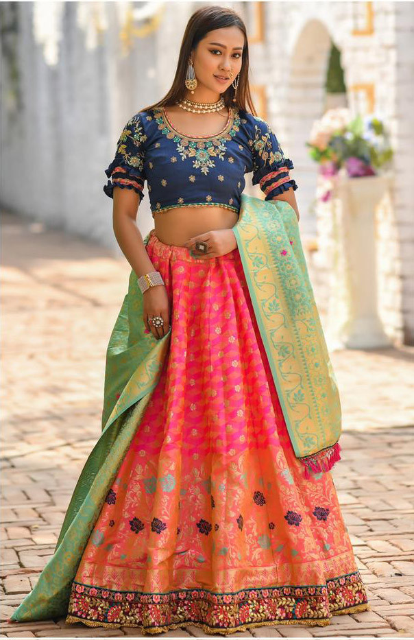 Dark Pink Wedding Wear Lehenga Choli