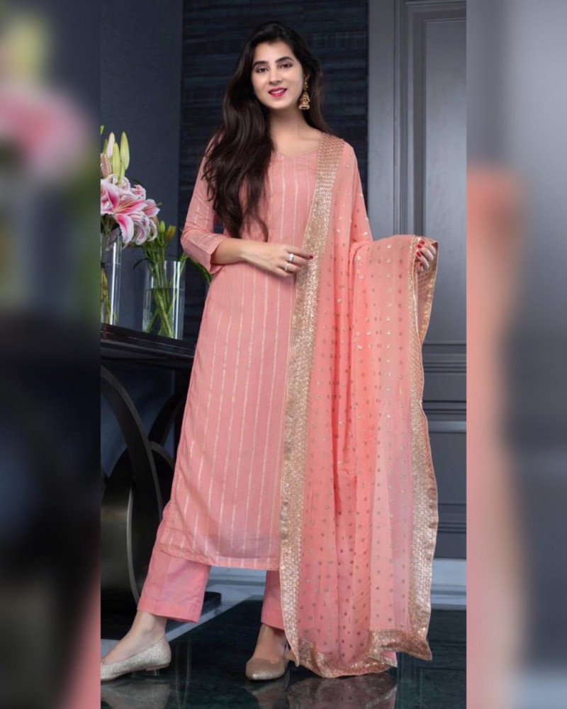 Peach Color Sequence Work Party Wear Salwar Suit