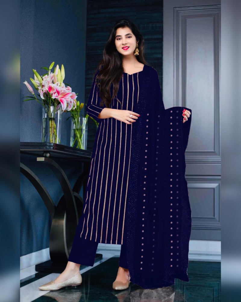 Latest  Blue Color Salwar Suit