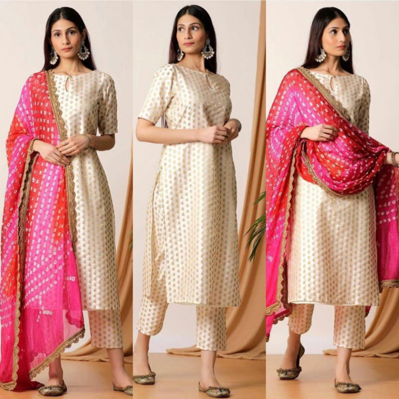 Off White Party Wear Salwar Suit With Heavy Dupatta