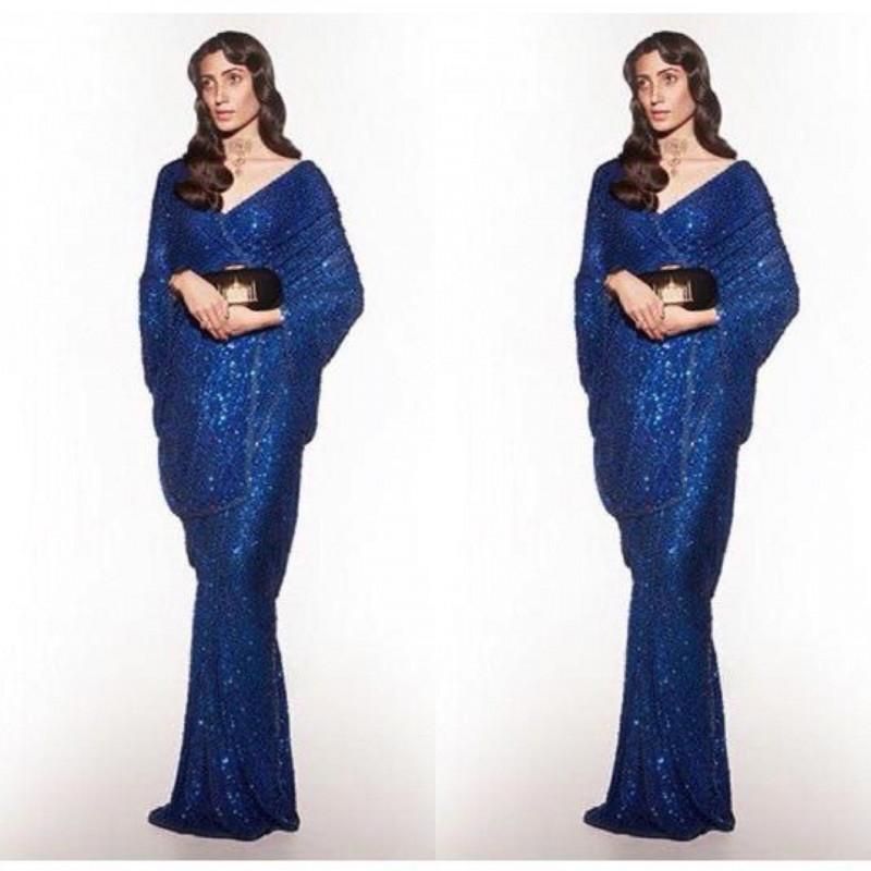 Stylish Blue Color Sequin Saree