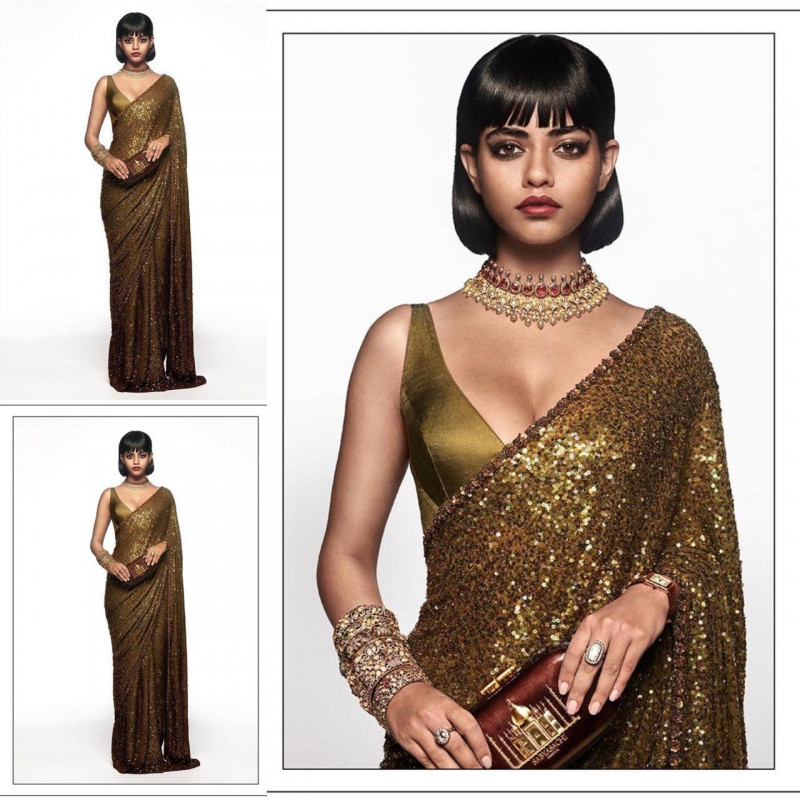 Designer Golden Color Sequence Saree