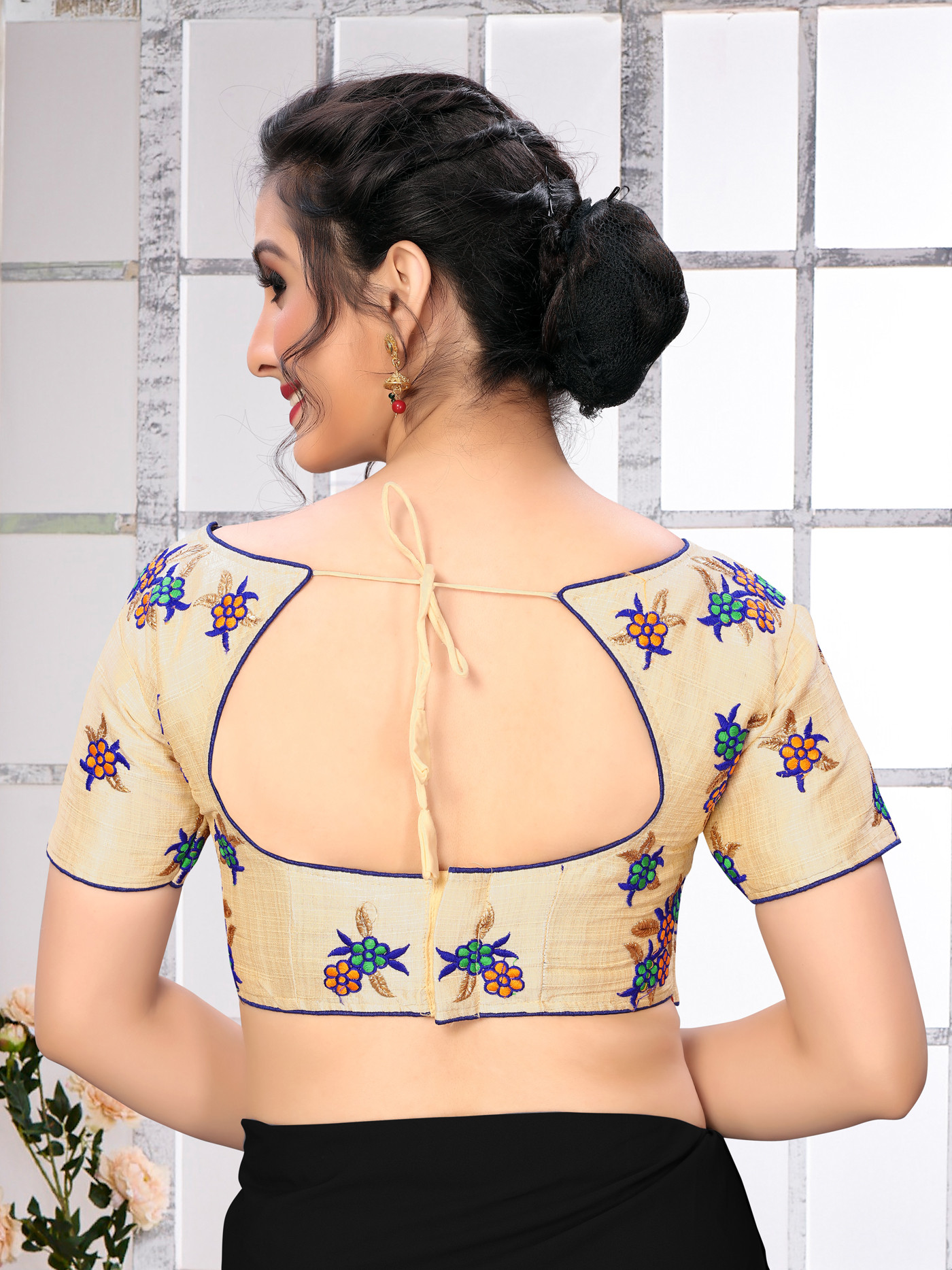 Blue Color Embroidery Work Silk Blouse