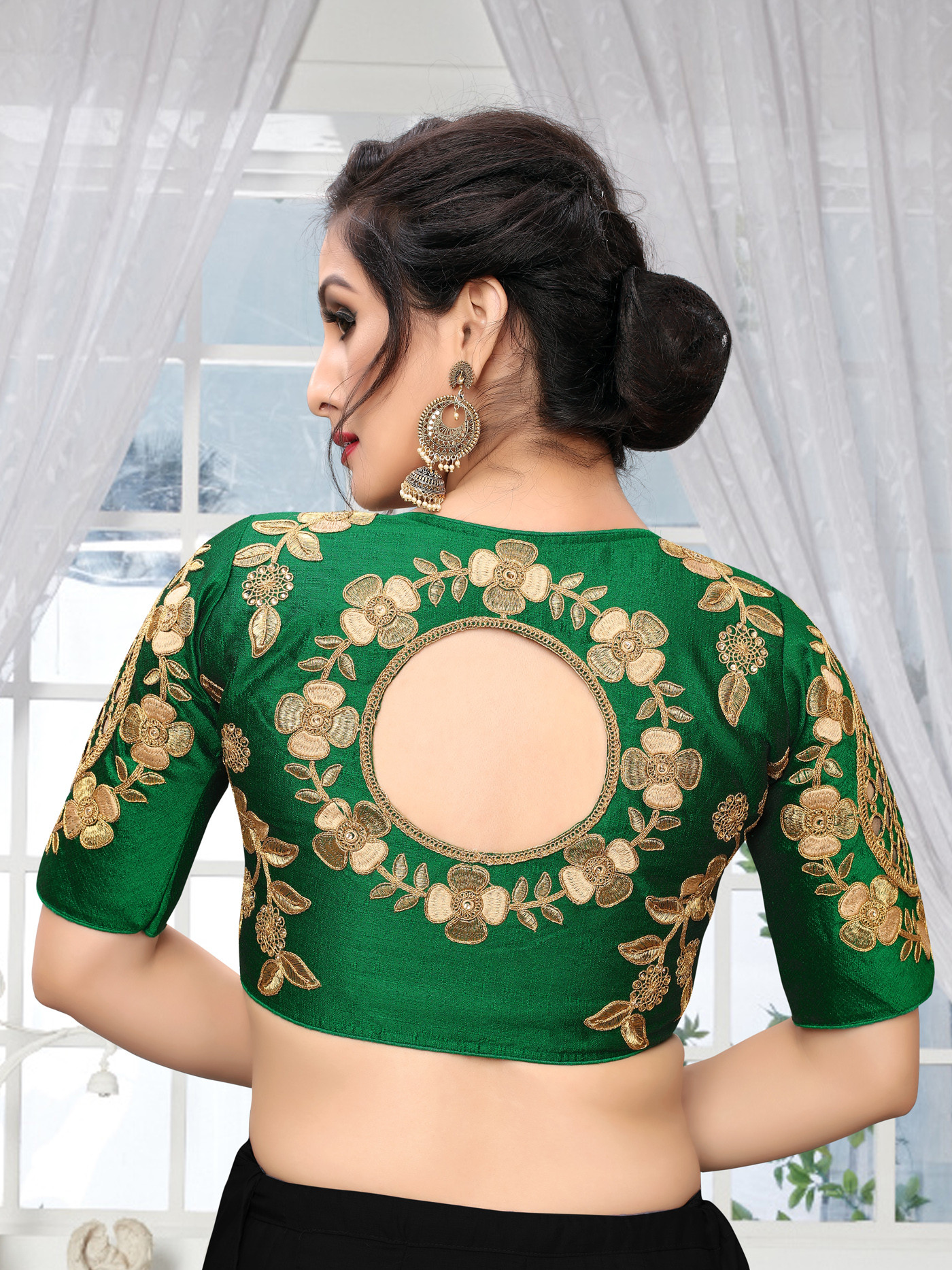 Green Color Wedding Wear Blouse