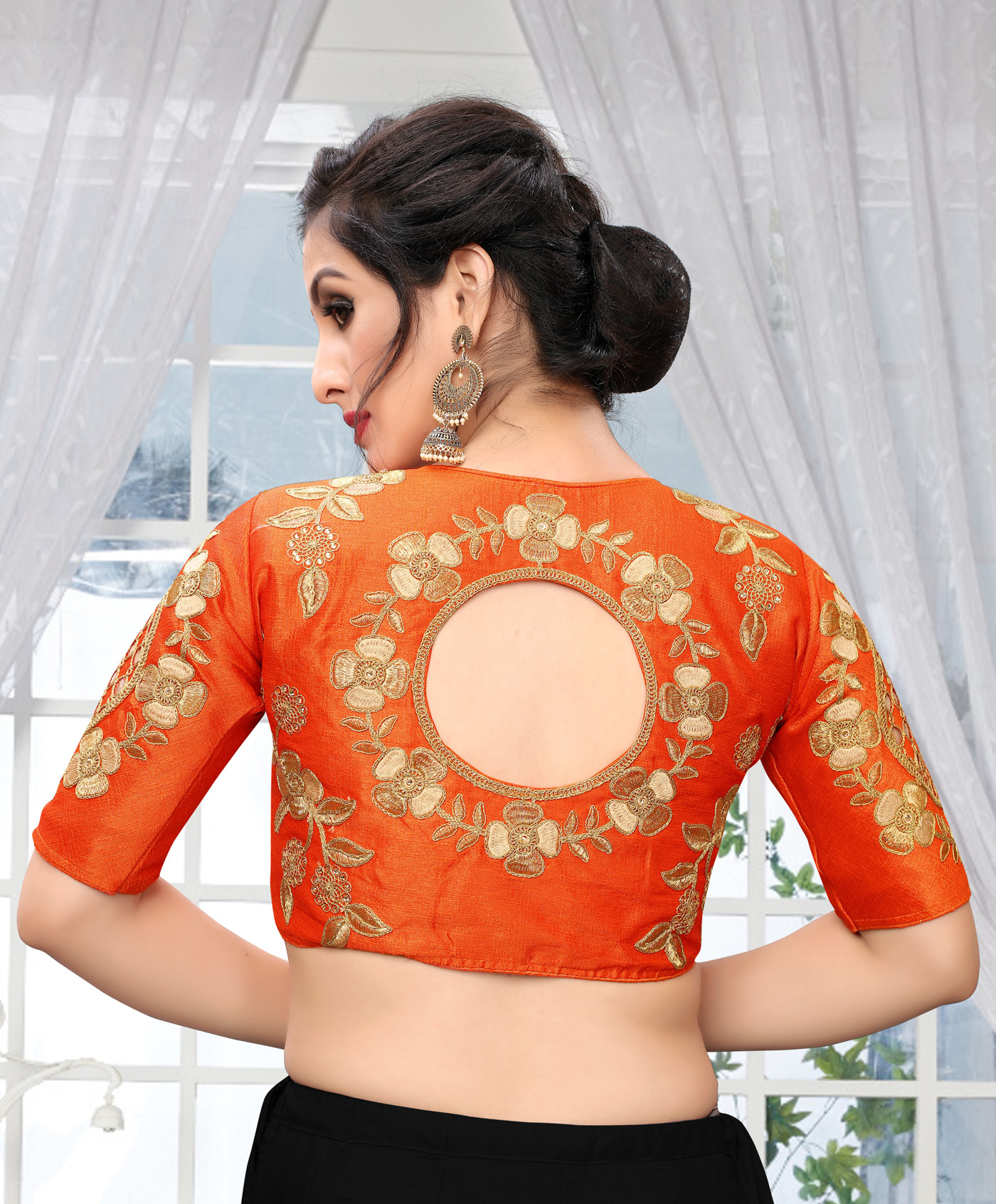 Orange Color Wedding Wear Blouse