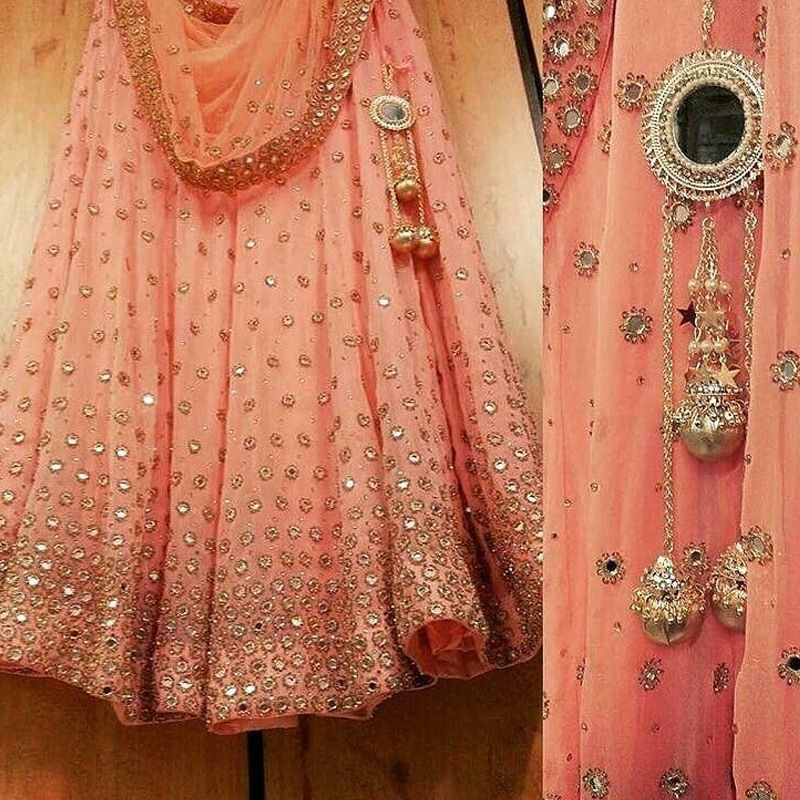 Trendy Light Peach Fancy Lehenga Choli