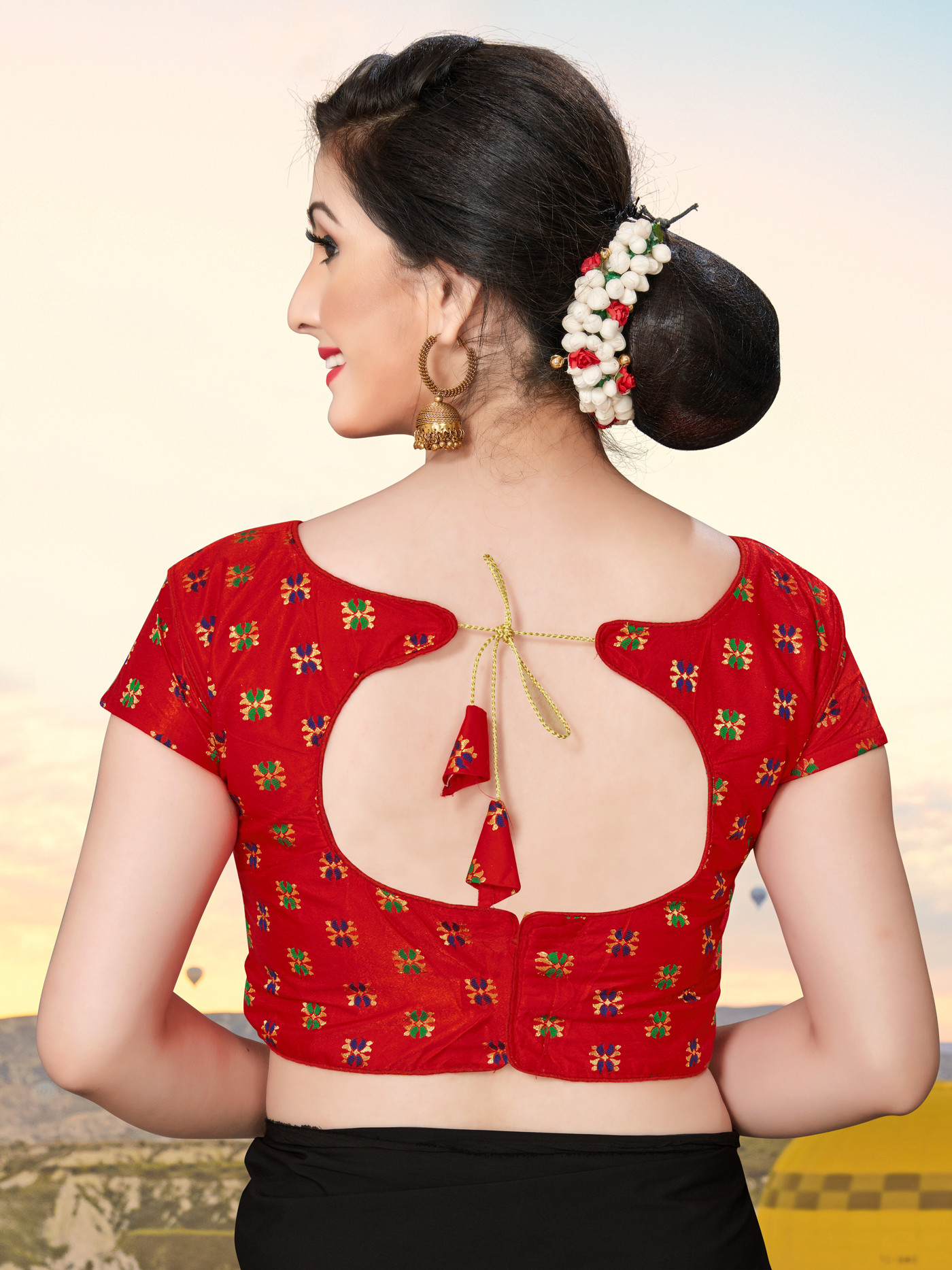 Red Color Printed Blouse