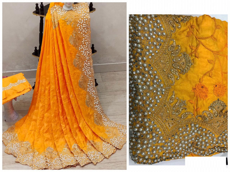 Yellow Color Haldi Special Saree