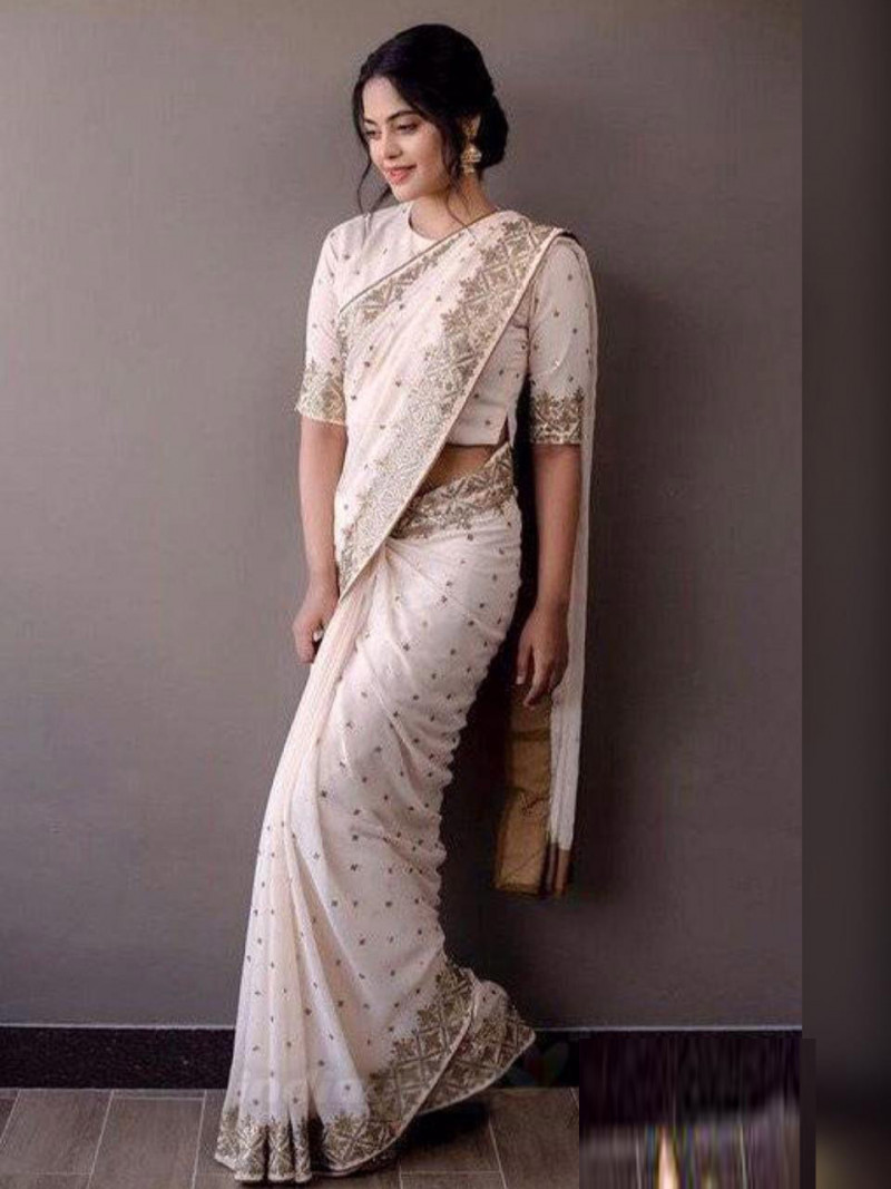 Latest Party Wear Light Pink Color Saree