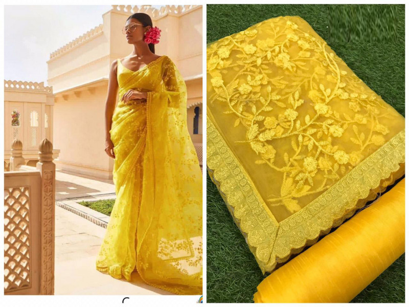 Designer Yellow Color Net Saree