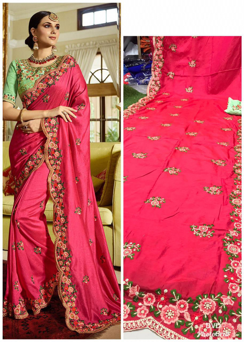 Wedding Wear Pink Saree With Contrast Blouse
