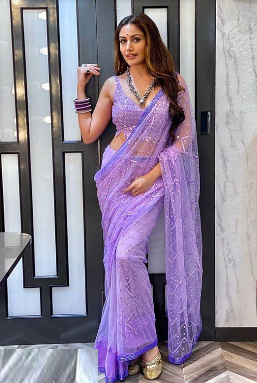 Light Purple Color Sequin Work Saree