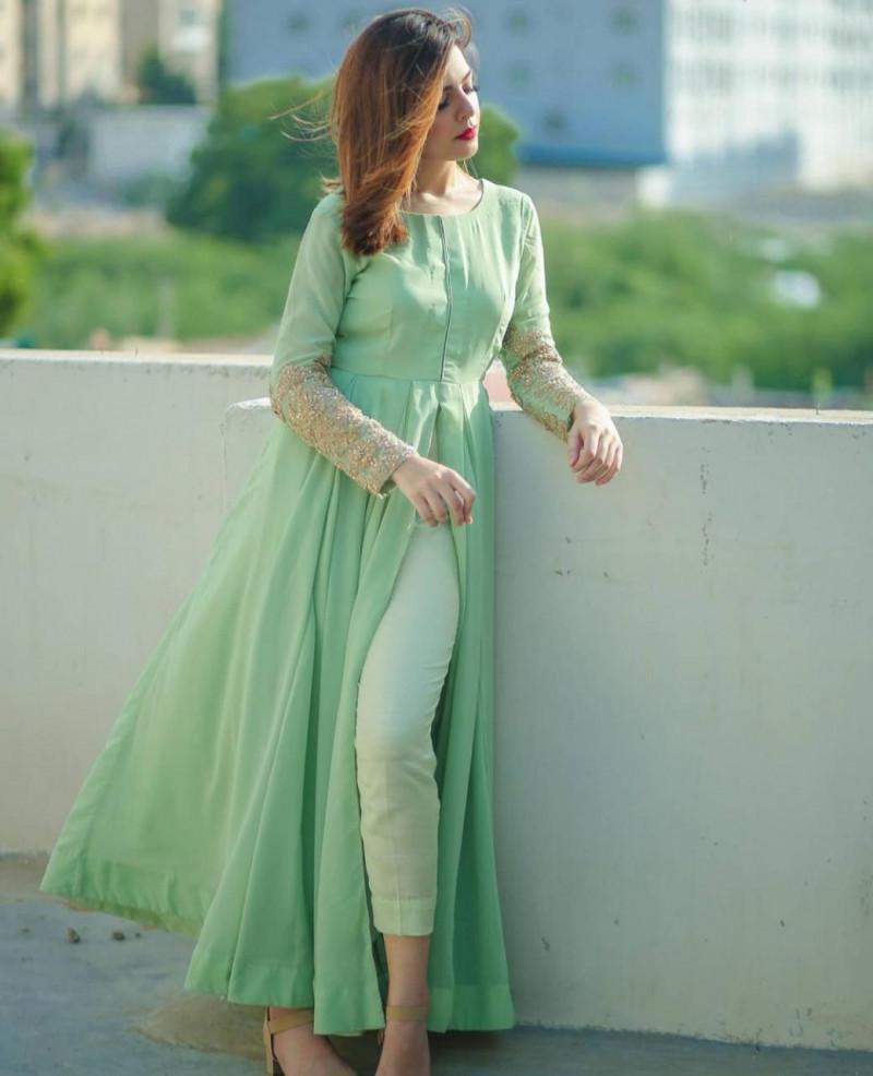 Pista Color Party Wear Slit Cut Salwar Suit
